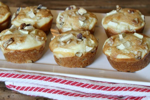 Apple Walnut Cheesecake Muffins recipe by RecipeGirl.com