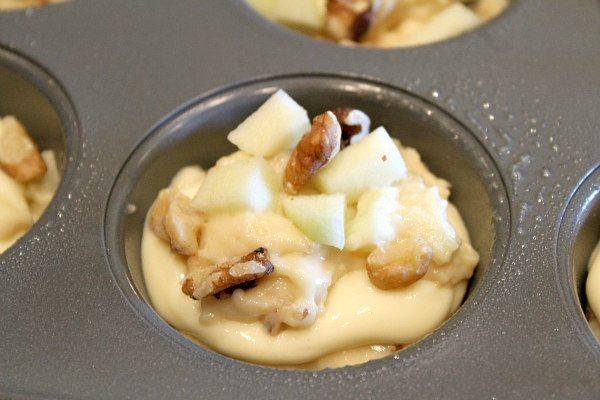 Apple Walnut Cheesecake Muffins recipe by RecipeGirl.com