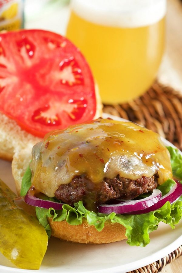 Maple Bourbon Burger with Bacon Mustard Sauce recipe from RecipeGirl.com