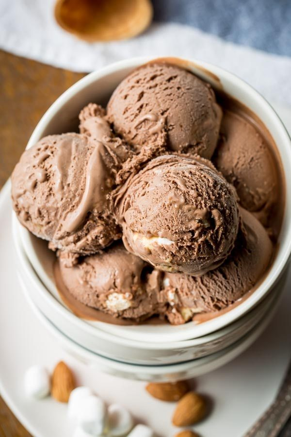 several scoops of Rocky Road Ice Cream in a white dish