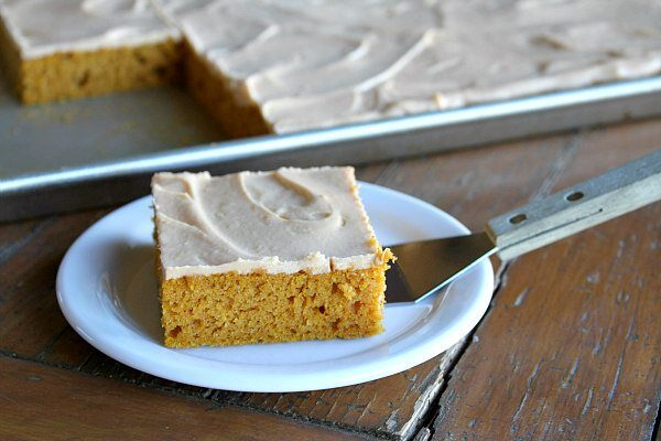 Pumpkin Sheet Cake with Butterscotch Frosting recipe - by RecipeGirl.com
