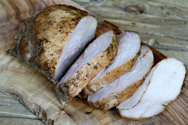 Roasted Pork Caprese Salad recipe - by RecipeGirl.com