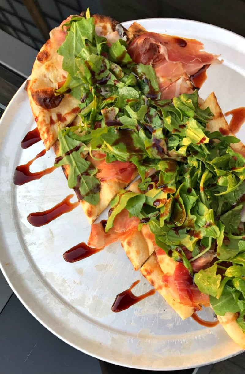 Liberty Hotel Boston Naan with arugula, prosciutto and balsamic