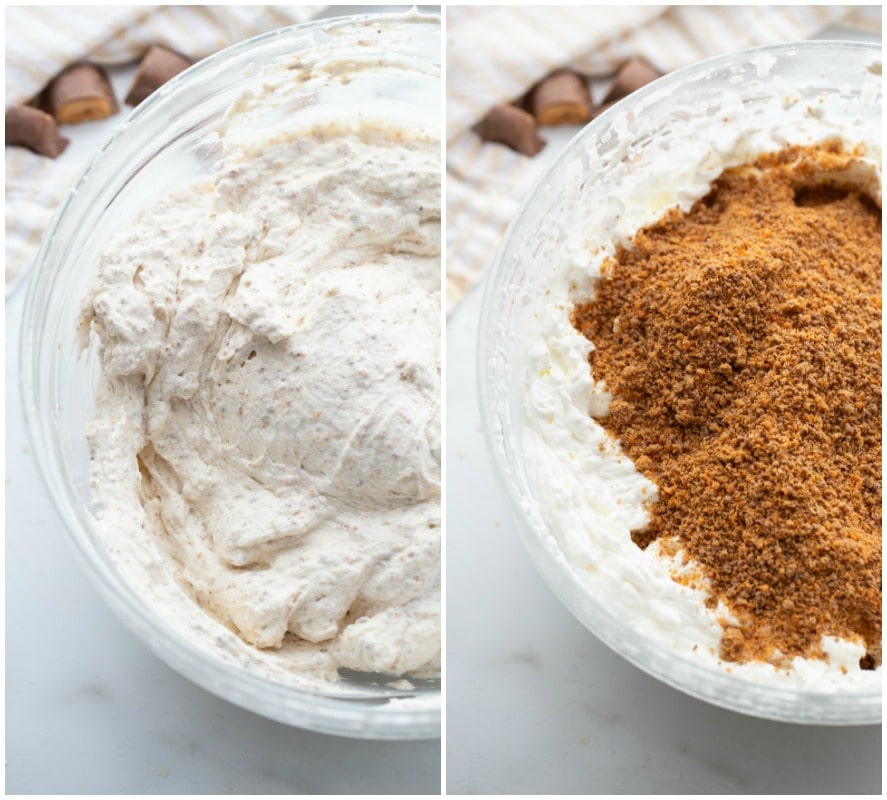 two photos showing filling for butterfinger pie