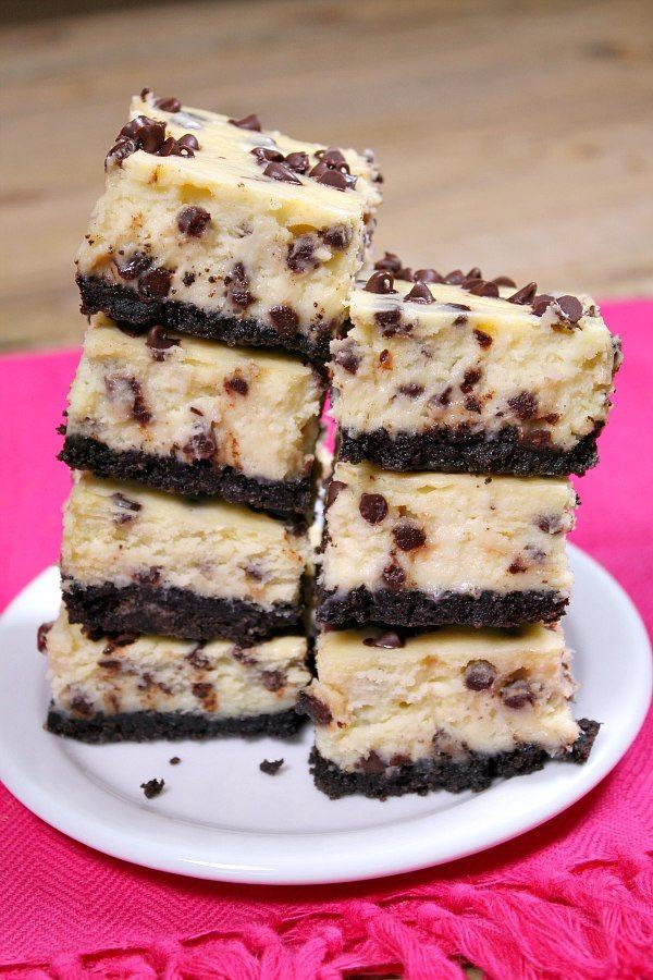 Chocolate Chip Cheesecake Bars recipe - from RecipeGirl.com