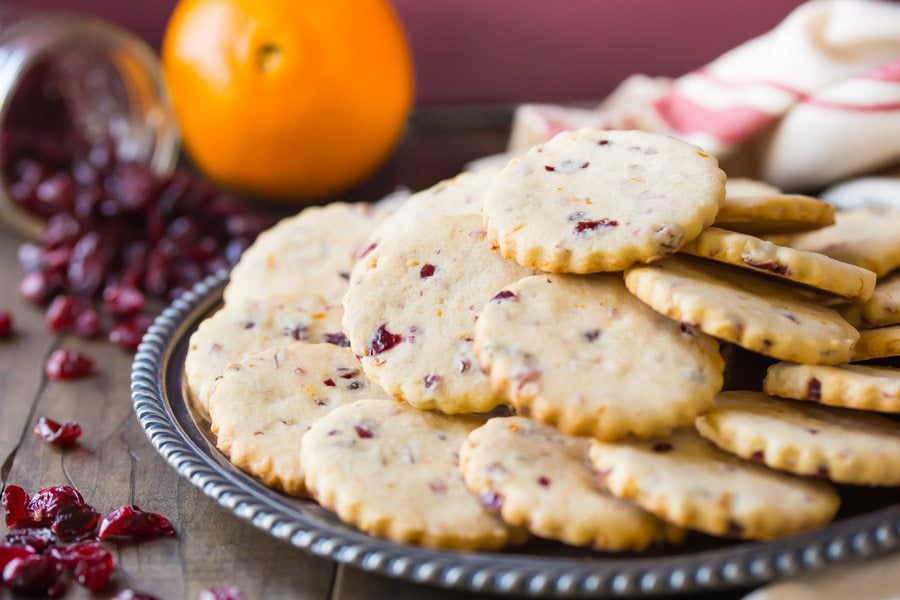 Cranberry Orange Shortbread Cookies - Recipe Girl