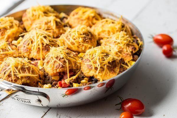 Easy Skillet Taco Cobbler dinner recipe from RecipeGirl.com