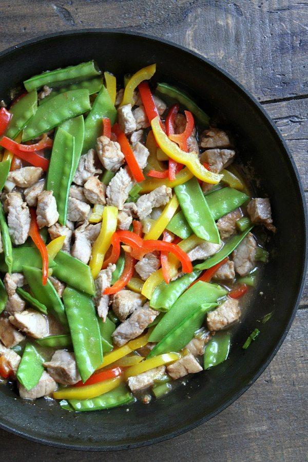 Easy Orange Teriyaki Pork Stir Fry recipe - from RecipeGirl.com