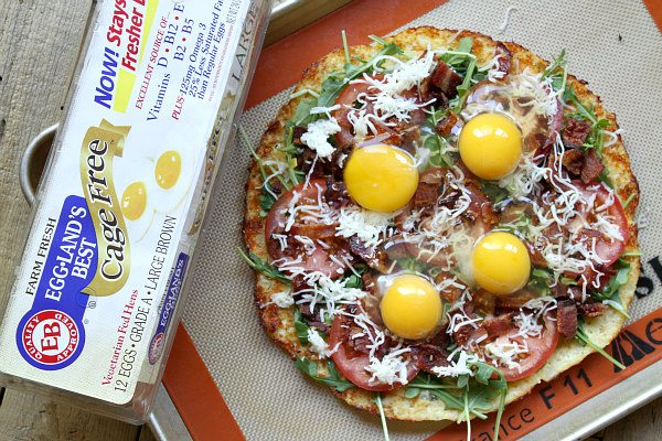 Cauliflower Crust Bacon and Egg Pizza recipe - from RecipeGirl.com