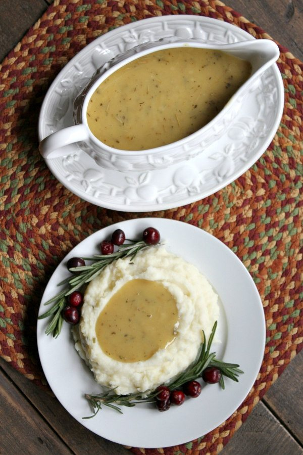 Quick and Easy Make Ahead Gravy recipe - from RecipeGirl.com