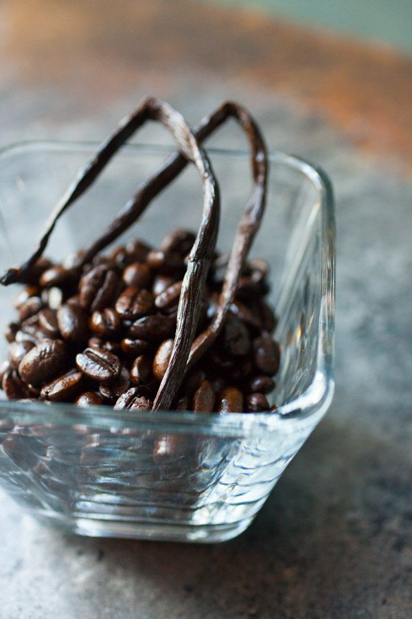 Coffee beans and vanilla beans