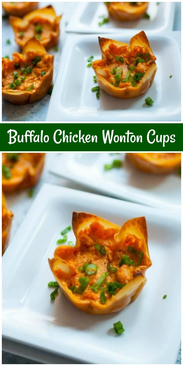 Buffalo Chicken Wonton Cups