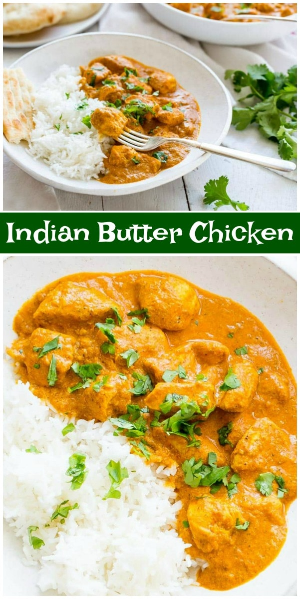 pinterest collage image for indian butter chicken