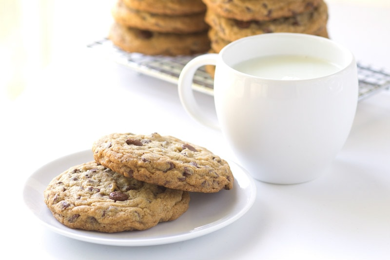 Secret Ingredient Chocolate Chip Cookies served with milk