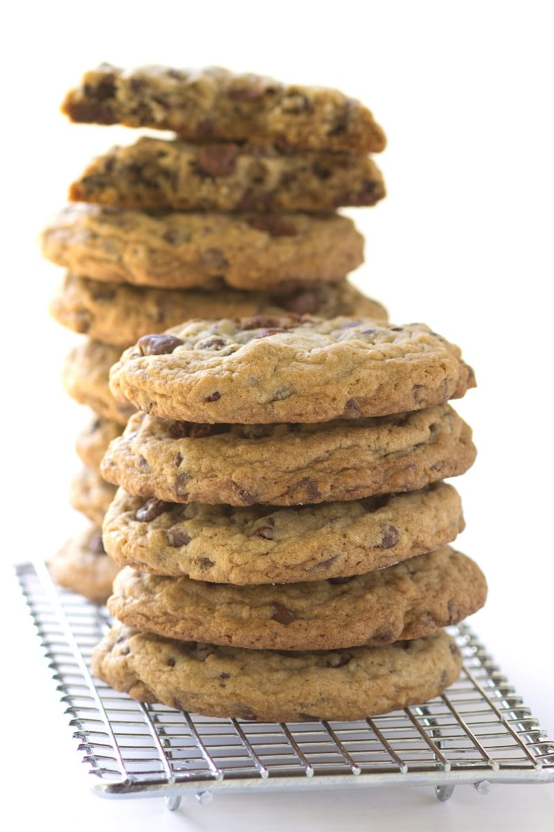 stack of Secret Ingredient Chocolate Chip Cookies