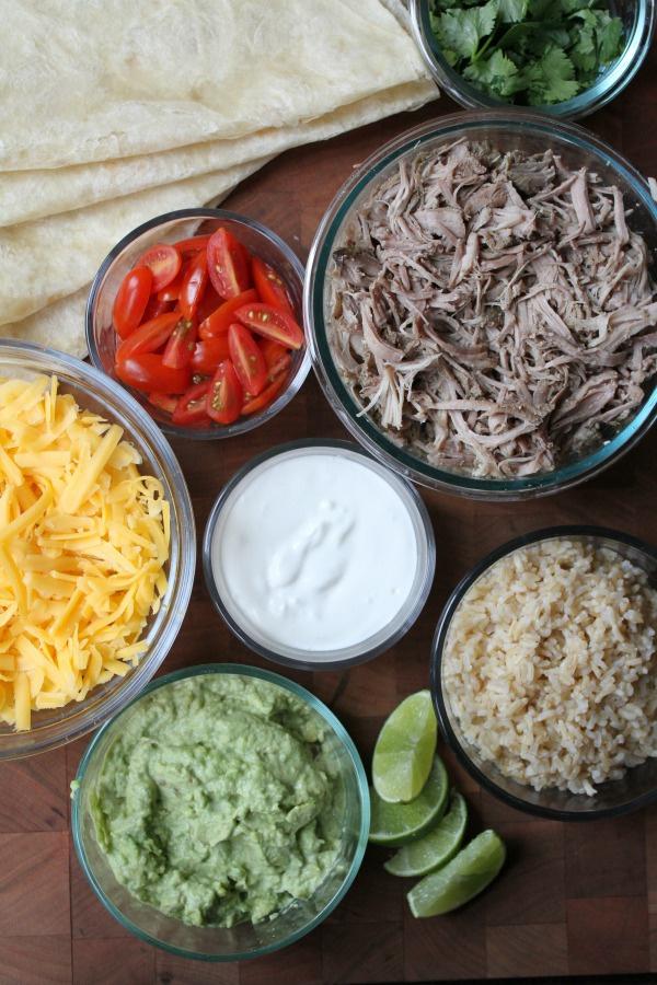Ingredients for Carnitas Burritos