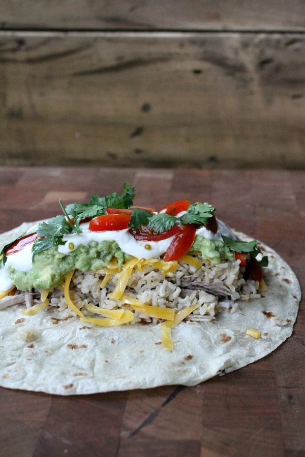 Assembling Slow Cooker Carnitas Burritos