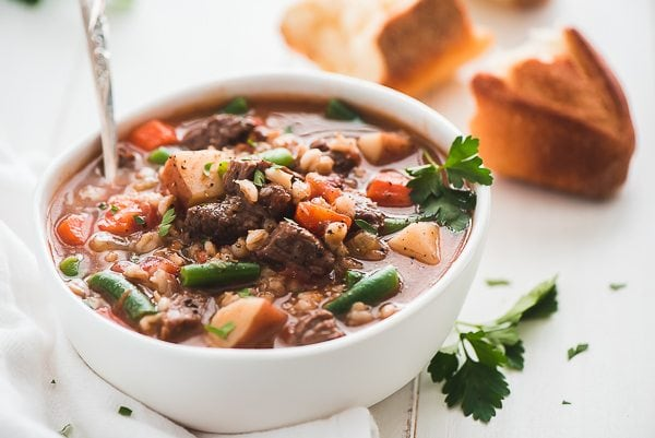 bowl of beef and barley soup