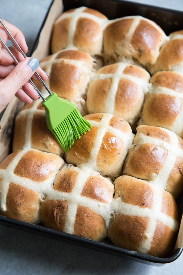 Hot Cross Buns brushed with apricot glaze