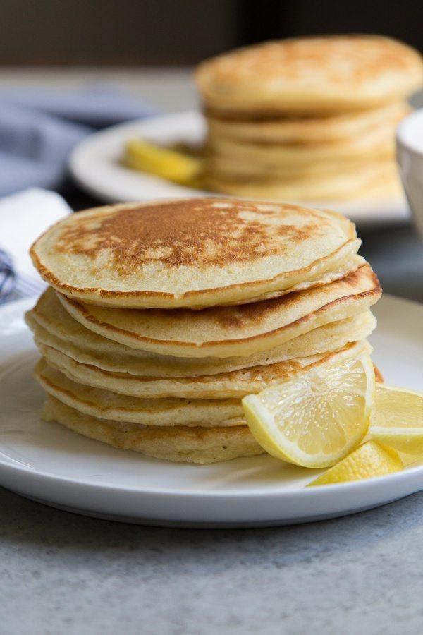 stack of lemon pancakes