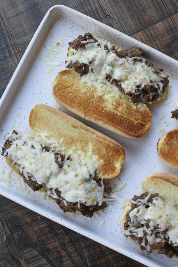 Cajun Cheesesteak Sandwiches out of the oven