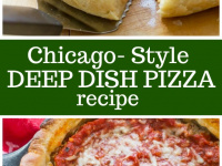 Pinterest Collage Image for Chicago Style Deep Dish Pizza
