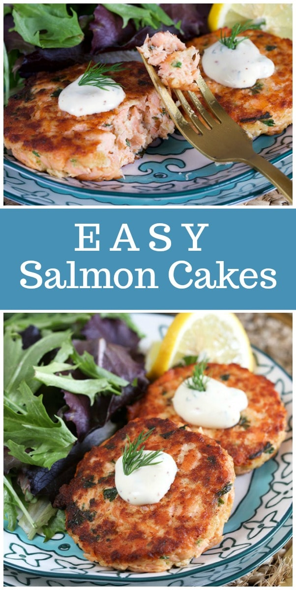These Easy Salmon Cakes with Lemon Dill Sauce are a simple dinner idea #salmon #cakes #patties #recipe