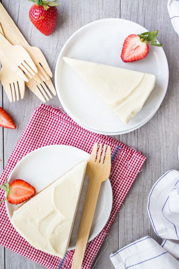 slices of no bake cheesecake