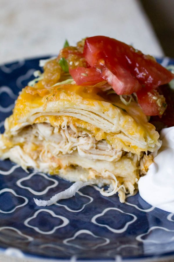 Slice of Instant Pot Green Chicken Enchilada Casserole