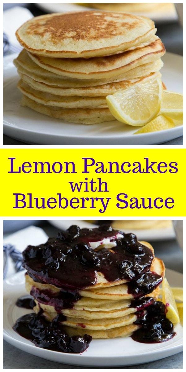 Lemon Pancakes with Blueberry Sauce recipe from RecipeGirl.com #lemon #pancakes #blueberry #breakfast #recipe