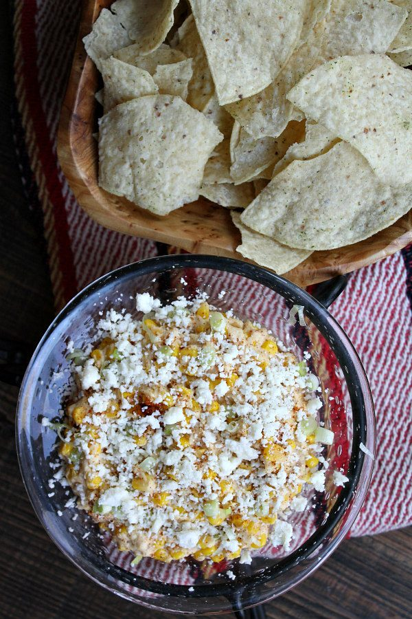Slow Cooker Mexican Street Corn Dip with Tortilla Chips