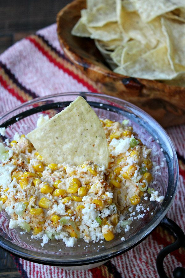 Mexican Street Corn Dip served with chips