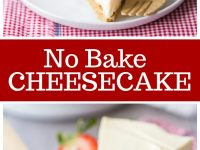 pinterest collage image for no bake cheesecake