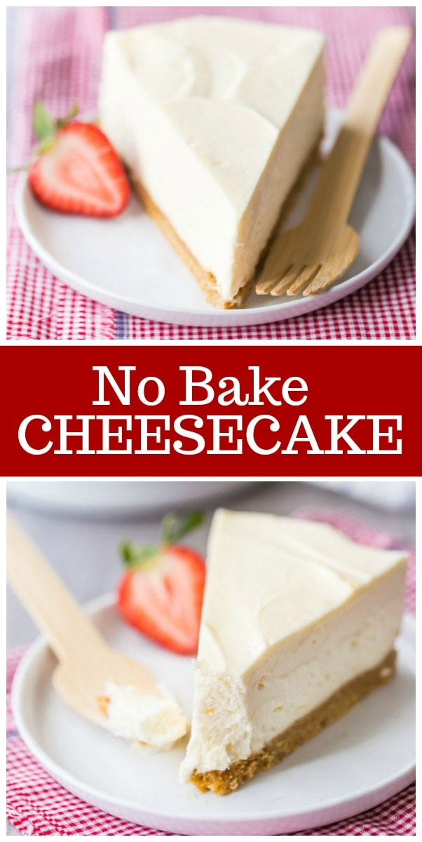 Easy No Bake Cheesecake recipe from RecipeGirl.com #nobake #cheesecake #recipe