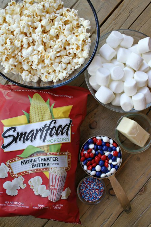 Ingredients for Patriotic Marshmallow Popcorn Cake