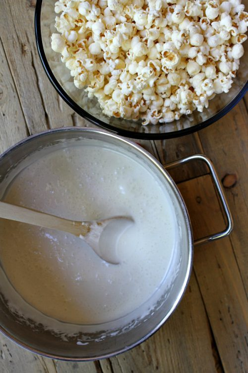 Popcorn and melted marshmallows