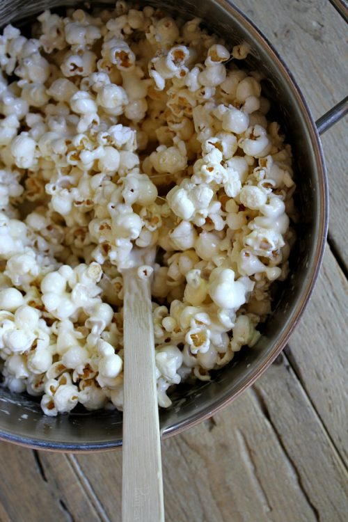 Popcorn mixed with melted marshmallows