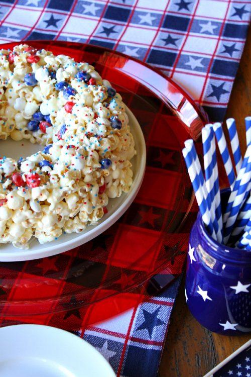 Patriotic Marshmallow Popcorn Cake