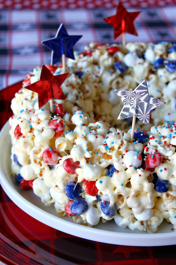 Patriotic Marshmallow Popcorn Cake Recipe Girl
