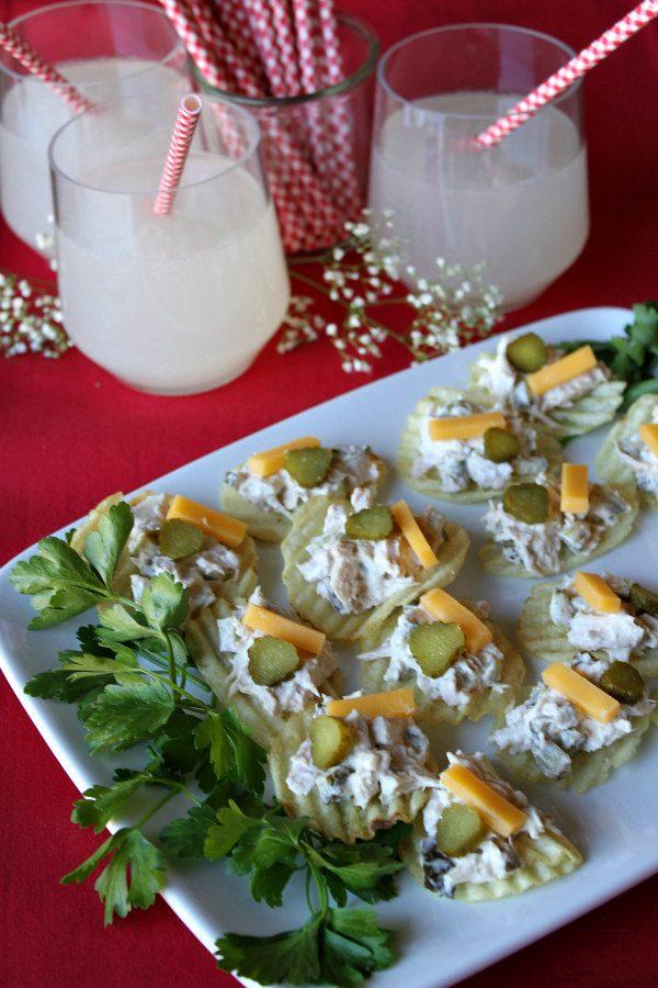 Platter of Tuna and Pickle Potato Chip Bruschetta