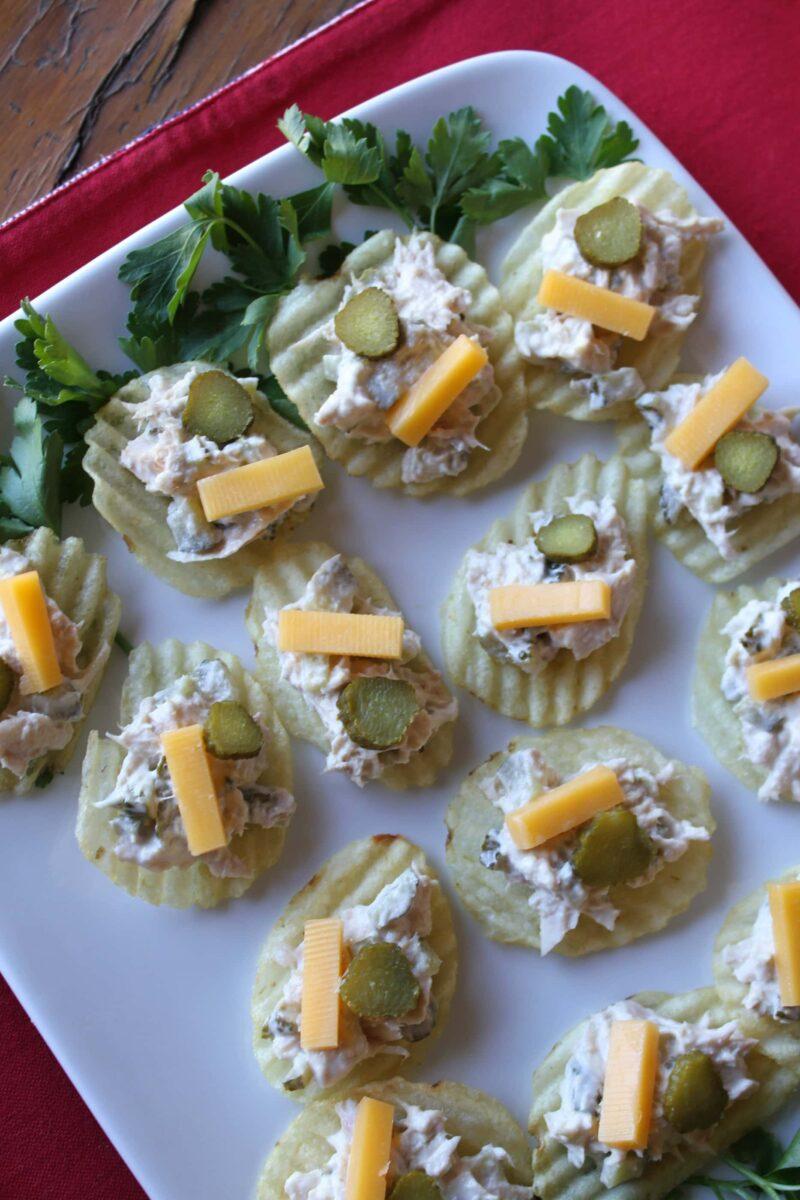 Tuna and Pickle Potato Chip Bruschetta