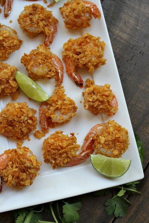 Crispy Baked Salsa Ranchera Shrimp served with Lime