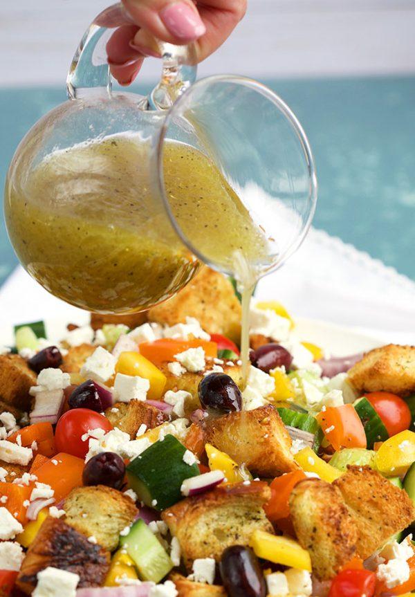 Greek Panzanella Salad with Vinaigrette