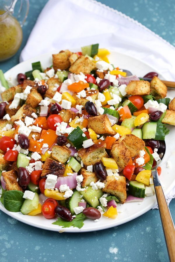 Greek Panzanella Salad on a White Plate