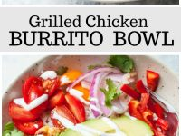 pinterest collage image for grilled chicken burrito bowls