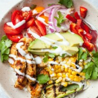 Overhead shot of Grilled Chicken Burrito Bowl in a white bowl