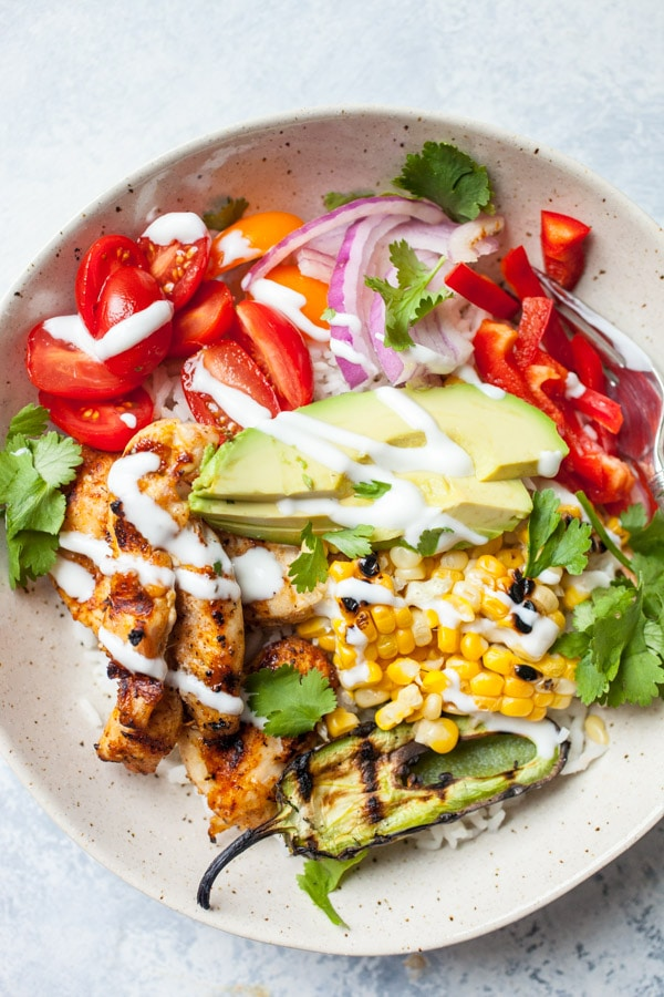 Grilled Chicken Burrito Bowl in a white bowl