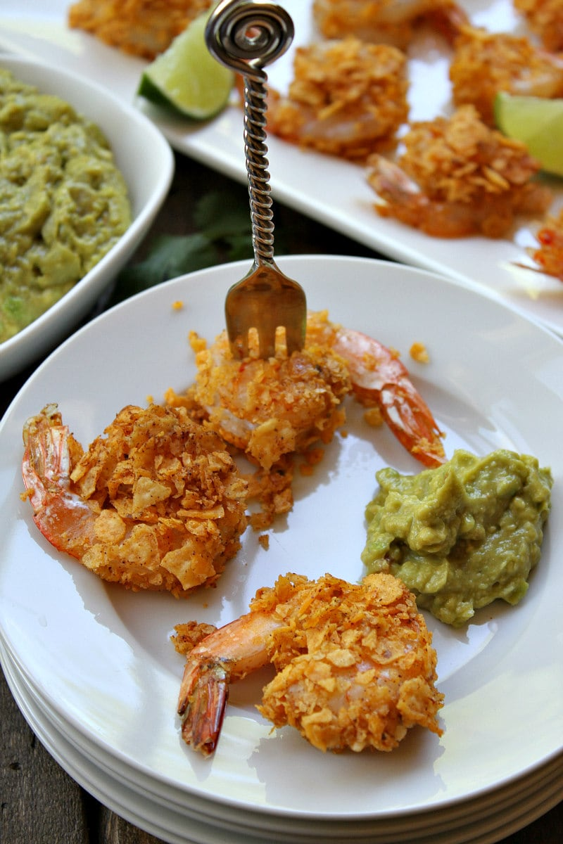 Crispy Baked Salsa Ranchera Shrimp with Guacamole