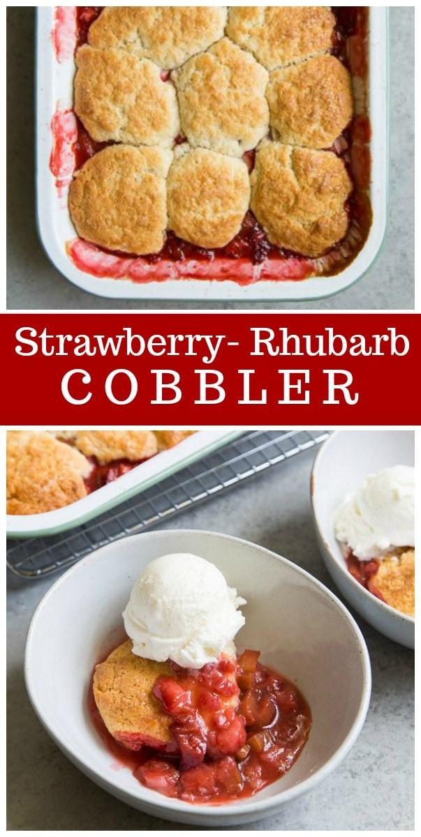 Strawberry Rhubarb Cobbler recipe from RecipeGirl.com #strawberry #rhubarb #cobbler #recipe #RecipeGirl #summer #dessert