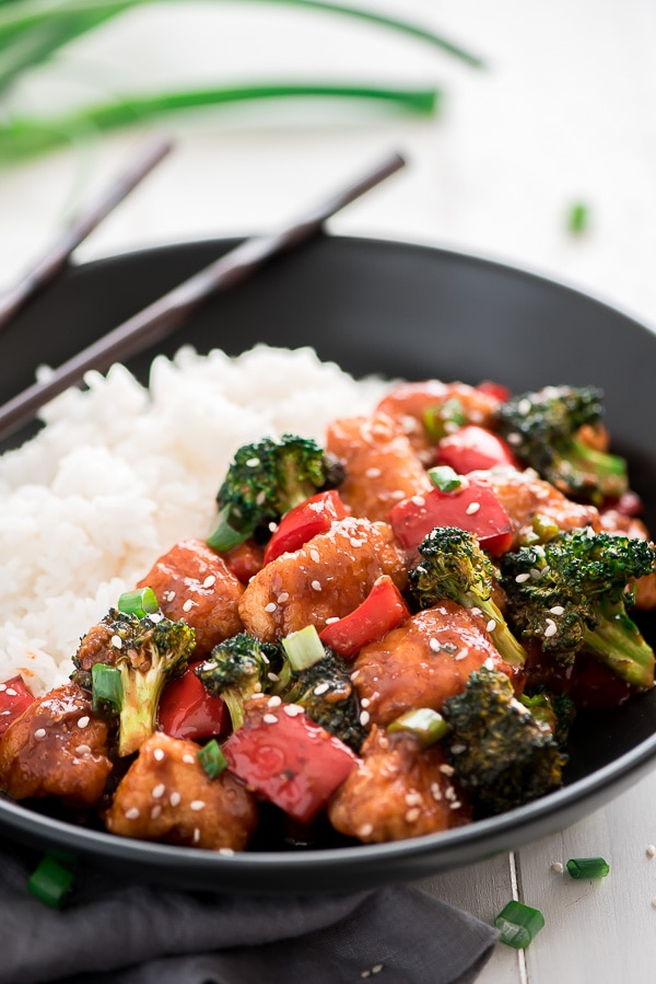 General Tso's Chicken served over rice